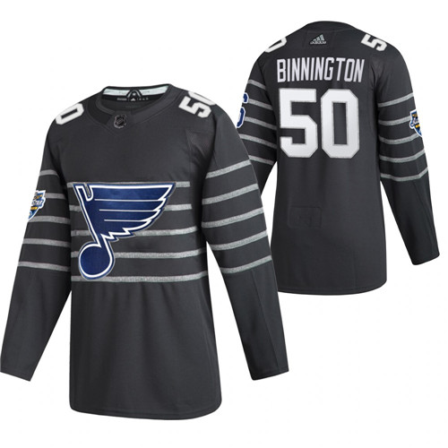 (1)Blues 50 Jordan Binnington Gray 2020 NHL All-Star Game Adidas Jersey