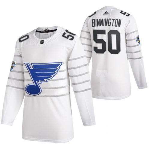 (1)Blues 50 Jordan Binnington White 2020 NHL All-Star Game Adidas Jersey