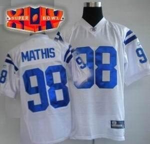 2010 SUPER BOWL XLIV Indianapolis Colts #98 Robert Mathis Color WHITE Jersey
