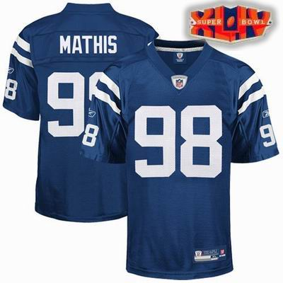 2010 SUPER BOWL XLIV Indianapolis Colts #98 Robert Mathis Team BLUE Color Jersey