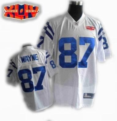 2010 super bowl XLIV jersey Indianapolis Colts jerseys #87 Reggie Wayne white