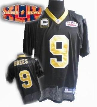 2010 super bowl XLIV jersey New Orleans Saints 9# Drew Brees black C patch