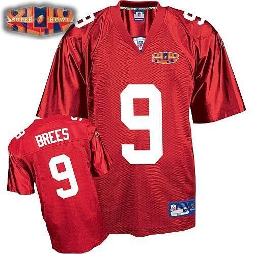 2010 super bowl XLIV jersey New Orleans Saints 9# Drew Brees red C patch