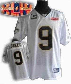 2010 super bowl XLIV jersey New Orleans Saints 9# Drew Brees white C patch