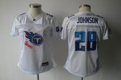 2011 Women FEM FAN Tennessee Titans 28# Chris Johnson white Jersey