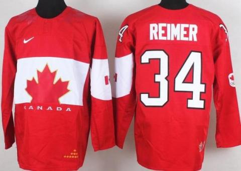 2014 IIHF ICE Hockey World Championship Canada Team 34 James Reimer Red Jerseys