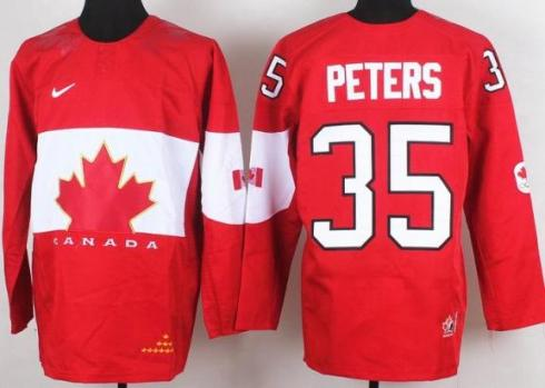 2014 IIHF ICE Hockey World Championship Canada Team 35 Justin Peters Red Jerseys