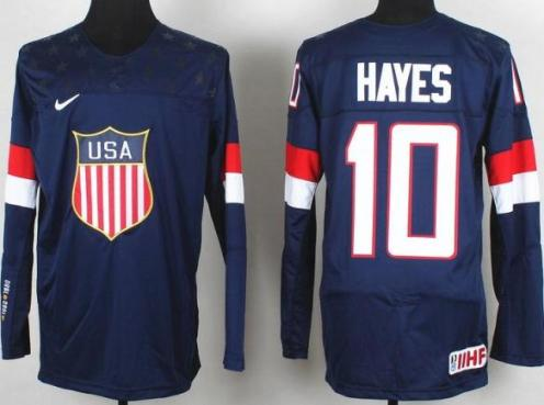 2014 IIHF ICE Hockey World Championship USA Team 10 Jimmy Hayes Blue Jerseys
