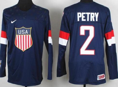2014 IIHF ICE Hockey World Championship USA Team 2 Jeff Petry Blue Jerseys