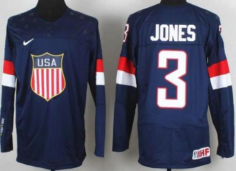 2014 IIHF ICE Hockey World Championship USA Team 3 Seth Jones Blue Jerseys