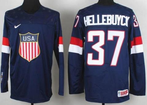 2014 IIHF ICE Hockey World Championship USA Team 37 Connor Hellebuyck Blue Jerseys