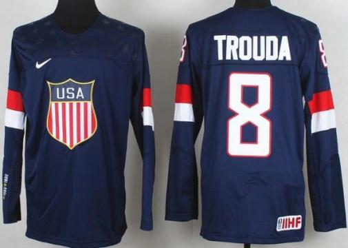 2014 IIHF ICE Hockey World Championship USA Team 8 Jacob Trouba Blue Jerseys