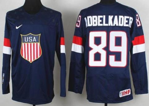 2014 IIHF ICE Hockey World Championship USA Team 89 Justin Abdelkader Blue Jerseys