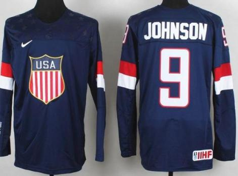2014 IIHF ICE Hockey World Championship USA Team 9 Tyler Johnson Blue Jerseys