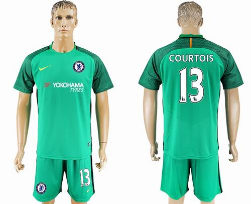 2017-2018 Chelsea #13 courtois green goalkeeper Soccer Jerseys