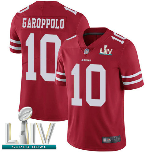 49ers #10 Jimmy Garoppolo Red Team Color Super Bowl LIV Bound Youth Stitched Football Vapor Untouchable Limited Jersey