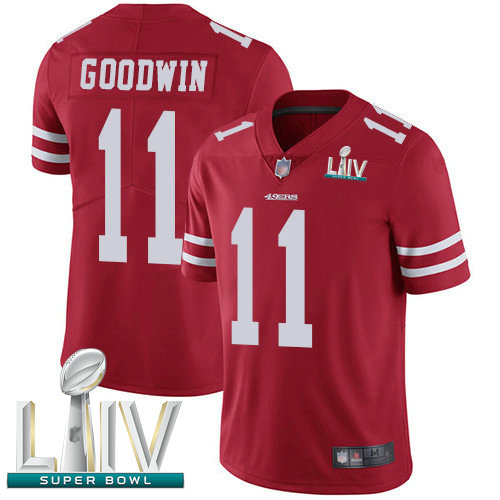 49ers #11 Marquise Goodwin Red Team Color Super Bowl LIV Bound Youth Stitched Football Vapor Untouchable Limited Jersey