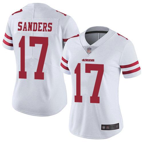 49ers #17 Emmanuel Sanders White Women's Stitched Football Vapor Untouchable Limited Jersey