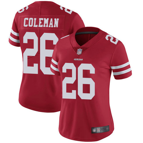 49ers #26 Tevin Coleman Red Team Color Women's Stitched Football Vapor Untouchable Limited Jersey