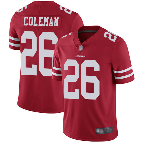 49ers #26 Tevin Coleman Red Team Color Youth Stitched Football Vapor Untouchable Limited Jersey
