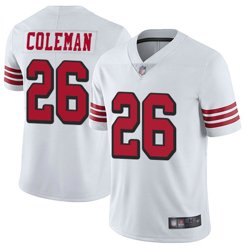 49ers #26 Tevin Coleman White Rush Youth Stitched Football Vapor Untouchable Limited Jersey