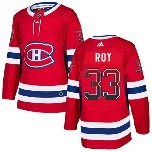 Adidas Canadiens #33 Patrick Roy Red Home Authentic Drift Fashion Stitched NHL Jersey