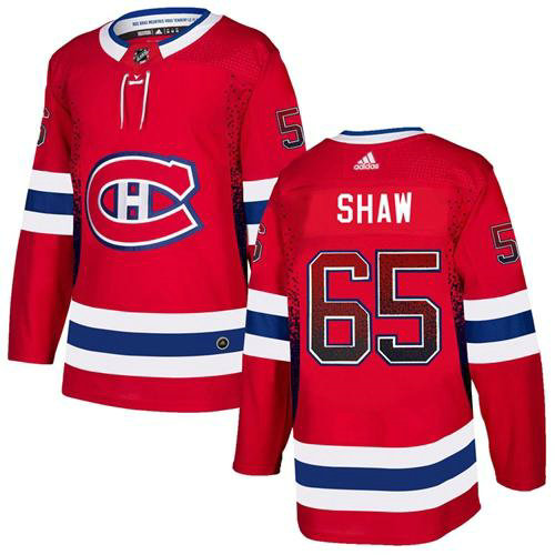 Adidas Canadiens #65 Andrew Shaw Red Home Authentic Drift Fashion Stitched NHL Jersey