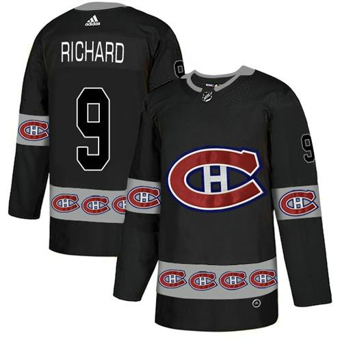 Adidas Canadiens #9 Maurice Richard Black Authentic Team Logo Fashion Stitched NHL Jersey
