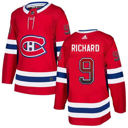 Adidas Canadiens #9 Maurice Richard Red Home Authentic Drift Fashion Stitched NHL Jersey