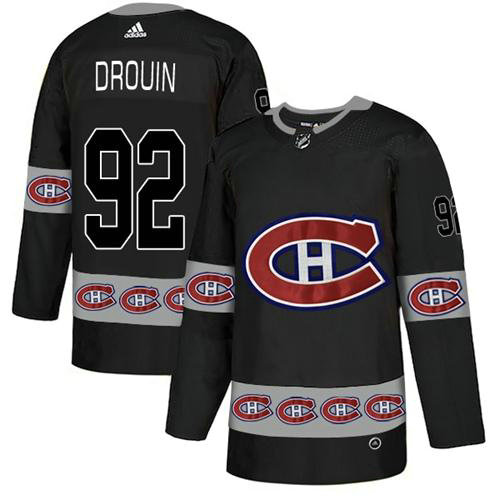Adidas Canadiens #92 Jonathan Drouin Black Authentic Team Logo Fashion Stitched NHL Jersey