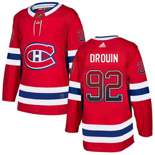 Adidas Canadiens #92 Jonathan Drouin Red Home Authentic Drift Fashion Stitched NHL Jersey