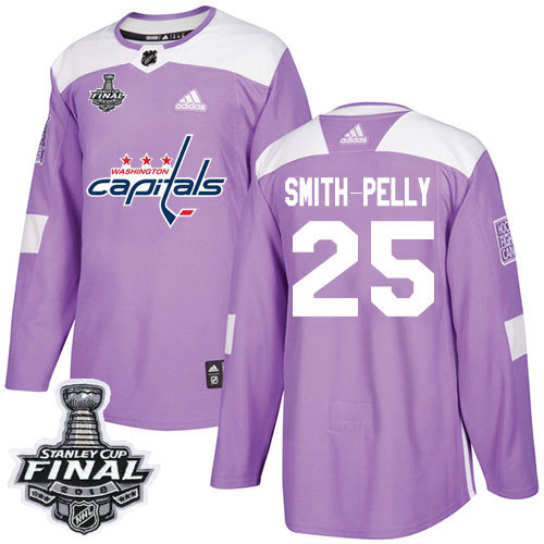Adidas Capitals #25 Devante Smith-Pelly Purple Authentic Fights Cancer 2018 Stanley Cup Final Stitched NHL Jersey