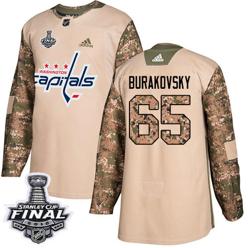 Adidas Capitals #65 Andre Burakovsky Camo Authentic 2017 Veterans Day 2018 Stanley Cup Final Stitched NHL Jersey