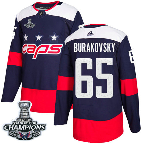 Adidas Capitals #65 Andre Burakovsky Navy Authentic 2018 Stadium Series Stanley Cup Final Champions Stitched NHL Jersey