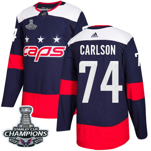 Adidas Capitals #74 John Carlson Navy Authentic 2018 Stadium Series Stanley Cup Final Champions Stitched NHL Jersey