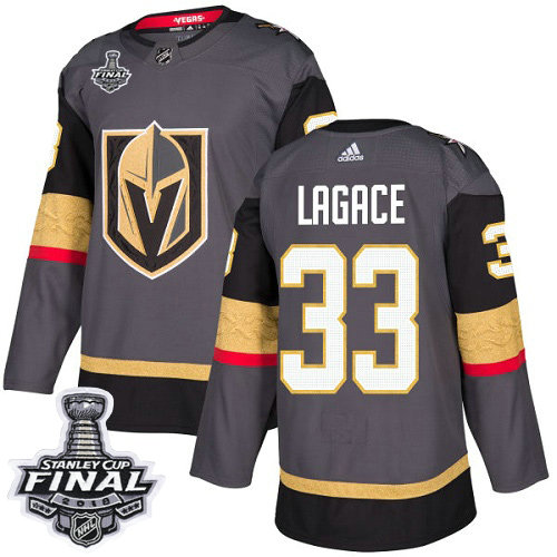 Adidas Golden Knights #33 Maxime Lagace Grey Home Authentic 2018 Stanley Cup Final Stitched NHL Jersey