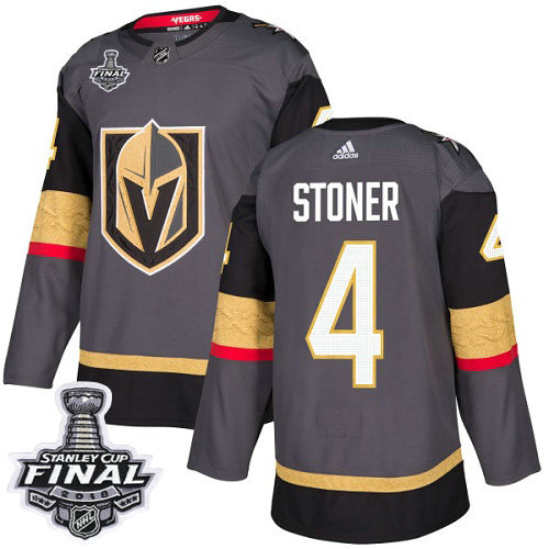 Adidas Golden Knights #4 Clayton Stoner Grey Home Authentic 2018 Stanley Cup Final Stitched NHL Jersey