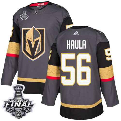 Adidas Golden Knights #56 Erik Haula Grey Home Authentic 2018 Stanley Cup Final Stitched NHL Jersey