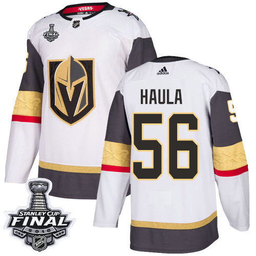 Adidas Golden Knights #56 Erik Haula White Road Authentic 2018 Stanley Cup Final Stitched NHL Jersey