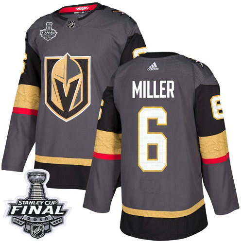 Adidas Golden Knights #6 Colin Miller Grey Home Authentic 2018 Stanley Cup Final Stitched NHL Jersey