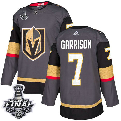 Adidas Golden Knights #7 Jason Garrison Grey Home Authentic 2018 Stanley Cup Final Stitched NHL Jersey