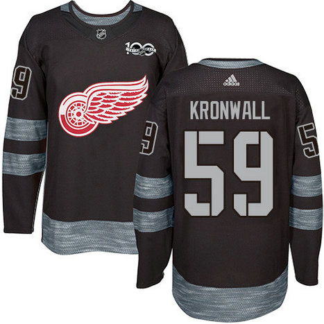 Adidas Red Wings #59 Niklas Kronwall Black 1917-2017 100th Anniversary Stitched NHL Jersey