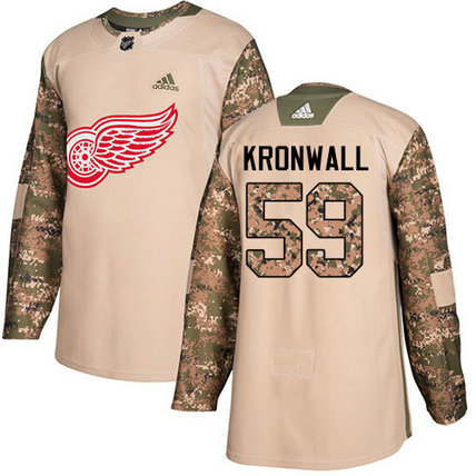 Adidas Red Wings #59 Niklas Kronwall Camo Authentic 2017 Veterans Day Stitched NHL Jersey