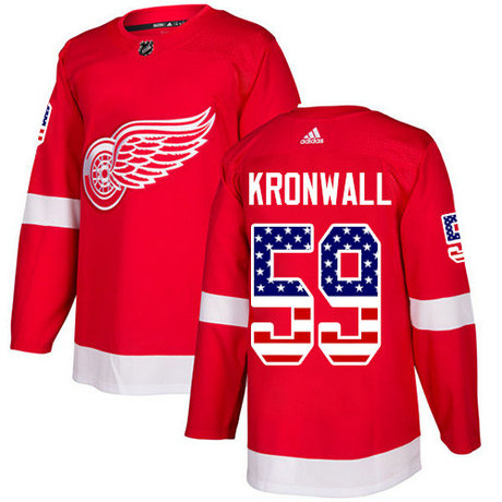 Adidas Red Wings #59 Niklas Kronwall Red Home Authentic USA Flag Stitched NHL Jersey
