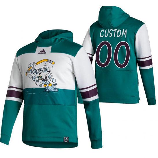 Anaheim Ducks Custom Adidas Reverse Retro Pullover Hoodie White Green