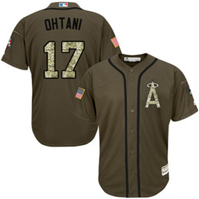Angels #17 Shohei Ohtani Green Salute to Service Stitched Youth MLB Jersey