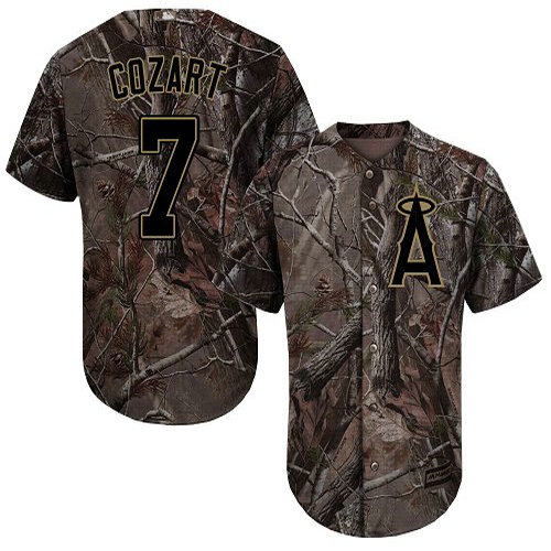 Angels #7 Zack Cozart Camo Realtree Collection Cool Base Stitched Youth Baseball Jersey