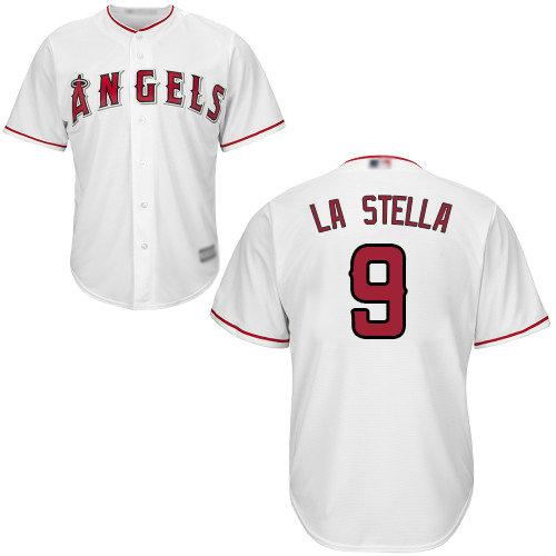 Angels #9 Tommy La Stella White Cool Base Stitched Youth Baseball Jersey