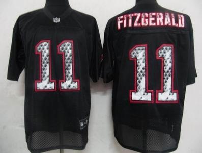 Arizona Cardicals 11 Larry Fitzgerald Black United Sideline Jerseys