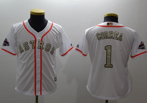 Astros #1 Carlos Correa White 2017 World Series Champions Gold Program Cool Base Stitched Youth Baseball Jersey